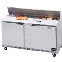 Beverage Air SPE60HC-10C 60 inch 2 Door Cutting Top Refrigerated Sandwich Prep Table with 17 inch Wide Cutting Board