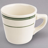 World Tableware VIC-1 Viceroy 7 oz. Ivory (American White) Rolled Edge Stoneware Tall Cup with Green Bands - 36/Case