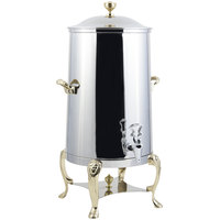 Bon Chef 48005 Lion 5 Gallon Insulated Stainless Steel Coffee Chafer Urn with Brass Trim
