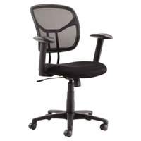 OIF MT4818 Black Mesh Swivel / Tilt Task Chair with Arms