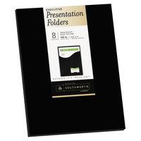 Southworth 98873 Letter Size Heavyweight 1-Pocket Paper Pocket Folder - Black - 8/Pack