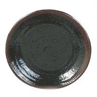 Thunder Group 1708TM Tenmoku Black 8 1/4 inch Round Melamine Plate - 12/Pack