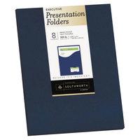 Southworth 98874 Letter Size Heavyweight 1-Pocket Paper Pocket Folder - Navy Blue - 8/Pack