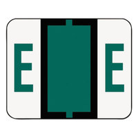 Smead 67075 1 1/4 inch x 1 inch A-Z Color-Coded Dark Green Letter E Name Filing Label - 500/Roll