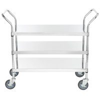 Regency Stainless Steel Three Shelf Utility Cart - 36 inch x 18 inch x 37 inch