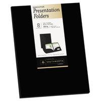 Southworth 98870 Letter Size Heavyweight 2-Pocket Paper Pocket Folder - Black - 8/Pack