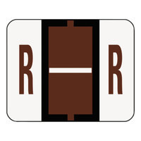 Smead 67088 1 1/4 inch x 1 inch A-Z Color-Coded Brown Letter R Name Filing Label - 500/Roll