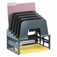 Officemate 22112 9 1/8 inch x 13 1/2 inch x 14 inch Black 5 Section Plastic Incline Sorter