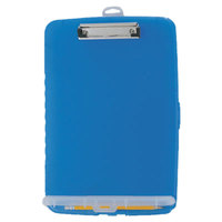 Officemate 83304 1/2 inch Capacity 8 1/2 inch x 11 inch Translucent Blue Storage Clipboard