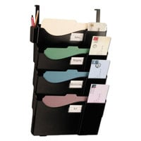 Officemate 21728 16 5/8 inch x 5 inch x 27 1/2 inch Black Plastic 4-Pocket Cubicle Mounted Grande Central Filing System