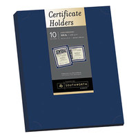 Southworth PF8 12 inch x 9 1/2 inch Navy Pack of 105# Linen Stock Certificate Holder   - 10/Sheets