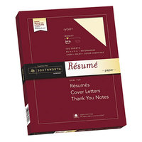 Southworth R14ICF 8 1/2 inch x 11 inch Ivory Box of 100% Cotton 24# Resume Paper - 100/Sheets