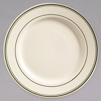 World Tableware VIC-6 Viceroy 6 5/8 inch Ivory (American White) Rolled Edge Stoneware Plate with Green Bands - 36/Case