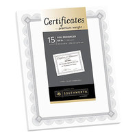 Southworth CTP2W Premium Certificates 8 1/2 inch x 11 inch White Pack of 66# Certificate Paper with Spiro Silver Foil Border   - 15/Sheets