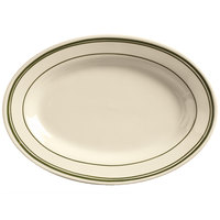 World Tableware VIC-13 Viceroy 11 1/2 inch x 8 inch Ivory (American White) Rolled Edge Stoneware Platter with Green Bands - 12/Case