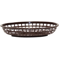 Tablecraft 1074BR 9 1/4 inch x 6 inch x 1 3/4 inch Brown Classic Oval Plastic Basket - 12/Pack