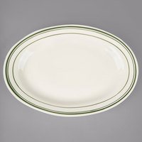 World Tableware VIC-19 Viceroy 15 1/2 inch x 10 5/8 inch Ivory (American White) Rolled Edge Stoneware Platter with Green Bands - 6/Case