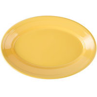 Carlisle 4387222 9 1/4 inch x 6 1/4 inch Honey Yellow Dayton Oval Platter - 24/Case