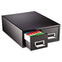 Steelmaster 263F3516DBLA 12 5/16 inch x 16 inch x 5 3/16 inch Black 2 Drawer Index Card Cabinet - 3 inch x 5 inch Cards