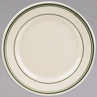 World Tableware VIC-16 Viceroy 10 1/4 inch Ivory (American White) Rolled Edge Stoneware Plate with Green Bands - 12/Case