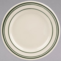 World Tableware VIC-31 Viceroy 6 1/4 inch Ivory (American White) Rolled Edge Stoneware Plate with Green Bands - 36/Case