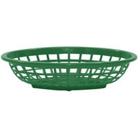 Tablecraft 1071FG 8 inch x 5 3/8 inch x 2 inch Forest Green Oval Side Order Plastic Basket - 12/Pack