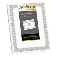 Southworth CTP1W Premium Certificates 8 1/2 inch x 11 inch White Pack of 66# Certificate Paper with Fleur Silver Foil Border   - 15/Sheets