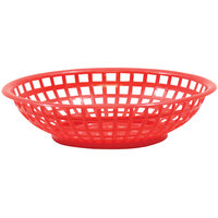 Tablecraft 1075R 8 inch x 2 inch Red Round Serving Plastic Basket - 12/Pack