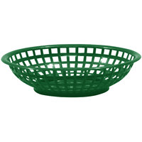 Tablecraft 1075FG 8 inch x 2 inch Forest Green Round Serving Plastic Basket - 12/Pack