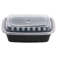 Choice 12 oz. Black 6 inch x 4 3/4 inch x 1 3/4 inch Rectangular Microwavable Heavyweight Container with Lid   - 25/Pack