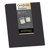 Southworth PF18 12 inch x 9 1/2 inch Black Pack of 105# Linen Stock Certificate Holder   - 10/Sheets
