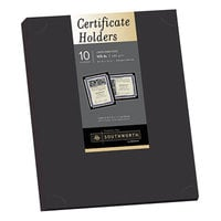 Southworth PF18 12 inch x 9 1/2 inch Black Pack of 105# Linen Stock Certificate Holder - 10 Sheets