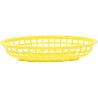 Tablecraft 1074Y 9 1/4 inch x 6 inch x 1 3/4 inch Yellow Classic Oval Plastic Basket - 12/Pack