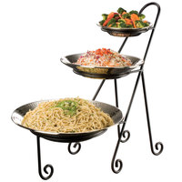 American Metalcraft IS15 Ironworks Three-Tier Round Display Stand with Curled Feet