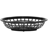 Tablecraft 1071BK 8 inch x 5 3/8 inch x 2 inch Black Oval Side Order Plastic Basket - 12/Pack