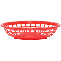 Tablecraft 1071R 8 inch x 5 3/8 inch x 2 inch Red Oval Side Order Plastic Basket - 12/Pack