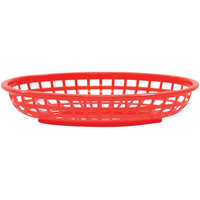 Tablecraft 1074R 9 3/8 inch x 6 inch x 1 7/8 inch Red Classic Oval Plastic Basket - 12/Pack