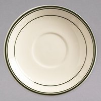 World Tableware VIC-20 Viceroy 5 1/2 inch Ivory (American White) Rolled Edge Stoneware Saucer with Green Bands   - 36/Case