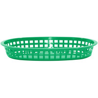 Tablecraft 1076G 10 5/8 inch x 7 inch x 1 1/2 inch Green Oval Chicago Platter Basket - 12/Pack