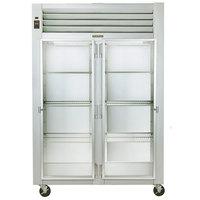 Traulsen G21011 2 Section Glass Door Reach In Refrigerator - Right / Left Hinged Doors