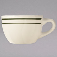 World Tableware VIC-37 Viceroy 7 oz. Ivory (American White) Rolled Edge Stoneware Low Cup with Green Bands - 36/Case