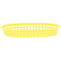 Tablecraft 1076Y 10 5/8 inch x 7 inch x 1 1/2 inch Yellow Oval Chicago Platter Basket - 12/Pack