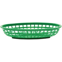 Tablecraft 1074G 9 3/8 inch x 6 inch x 1 7/8 inch Green Classic Oval Plastic Basket - 12/Pack