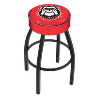 Holland Bar Stool L8B130GA-Dog University of Georgia Logo Single Ring Swivel Bar Stool with 4 inch Padded Seat