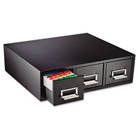Steelmaster 263F3516TBLA 19 7/8 inch x 18 1/8 inch x 7 inch Black 3 Drawer Index Card Cabinet - 3 inch x 5 inch Cards