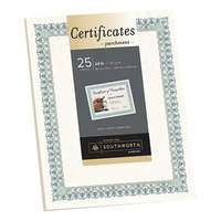 Southworth 3R Parchment Certificates 8 1/2 inch x 11 inch Ivory Pack of 24# Certificate Paper with Green and Blue Border   - 25/Sheets