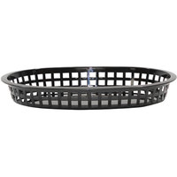 Tablecraft 1076BK 10 5/8 inch x 7 inch x 1 1/2 inch Black Oval Chicago Platter Basket - 12/Pack