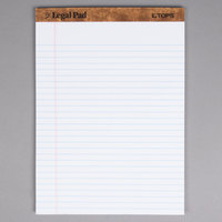 TOPS 7533 8 1/2 inch x 11 3/4 inch Wide Ruled White Perforated Legal Pad - 12/Pack