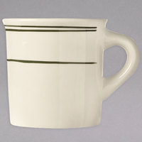 World Tableware VIC-38 Viceroy 7.5 oz. Ivory (American White) Rolled Edge Stoneware Mug with Green Bands - 36/Case