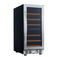 Eurodib USF33D Single Section Dual Temperature Full Glass Door Undercounter Wine Refrigerator